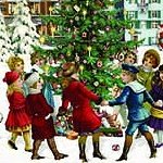 Victorian Village Carolers w Tree